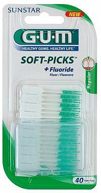 GUM Soft-Picks Regular masážní mezizubní kartáčky s fluoridy, ISO 1, 40 ks