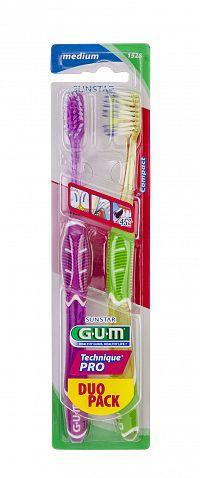 GUM Technique PRO Compact Medium zubní kartáček pro problematické dásně, duopack