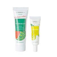 KORRES Beauty Shots revitalizační maska s melounem, 18 ml + okurková zklidňující maska na oči, 8 ml