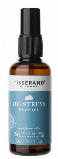Tisserand De-Stress luxusní povzbuzující tělový a masážní olej s pomerančem a geraniem, 100 ml