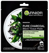Černá textilní maska s extraktem zčerného čaje Pure Charcoal Skin Naturals (Black Tissue Mask) 28 g