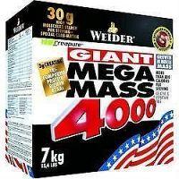 Weider, Giant Mega Mass 4000, Gainer, 7000 g, Bílá Čokoláda-Pralinka