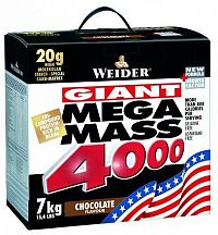 Weider, Giant Mega Mass 4000, Gainer, 7000 g, Čokoláda