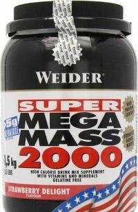 Weider, SUPER Mega Mass 2000, Gainer, 4500 g, Jahoda