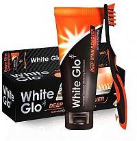 White Glo Profesionální bělící zubní pasta Charcoal 150g + kartáček a mezizubní kartáčky ZDARMA