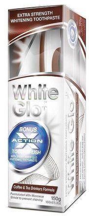 White Glo zubní pasta Coffee and Tea Drinkers 150g + kartáček a mezizubní kartáček ZDARMA