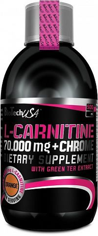 L-Carnitine 70000 mg + Chrome 5mg - Biotech USA 500 ml Pomaranč