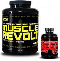 Muscle Revolt + BEEF Amino Zdarma - Best Nutrition 2250 g + 250 tbl. Jahoda