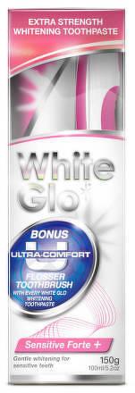 White Glo  zubní pasta Sensitive Forte 150g + kartáček a mezizubní kartáček ZDARMA